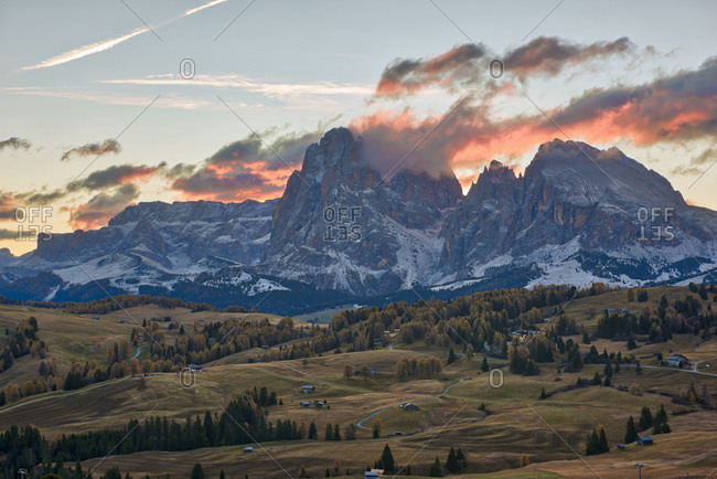 Italy- South Tyrol- Seiser Alm- Langkofel and Plattkofel at sunrise