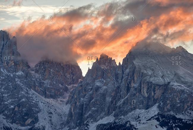Italy- South Tyrol- Langkofel and Plattkofel at sunrise