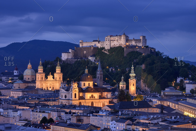Austria - May 27, 2015: Salzburg- Monchsberg with Hohensalzburg fortress at dusk