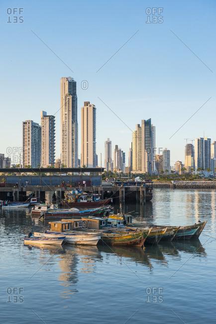 Panama - April 13, 2016: Panama City- skyline- fishing boats