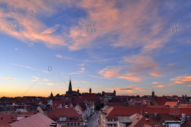 Germany - June 2, 2015: Skyline of Nuremberg at sunset- Bavaria- Middle Franconia