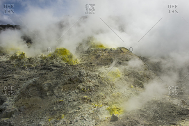 Hokkaido- Akan Mashu National Park- Sulphur pieces on Iozan- sulfur mountain- active volcano area
