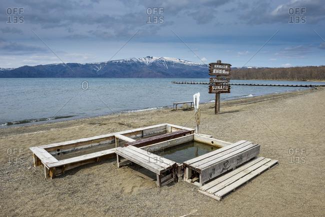 Hokkaido - April 28, 2016: Akan Mashu National Park- Lake Kussharo- crater lake- hot spring on the Sunayo onsen