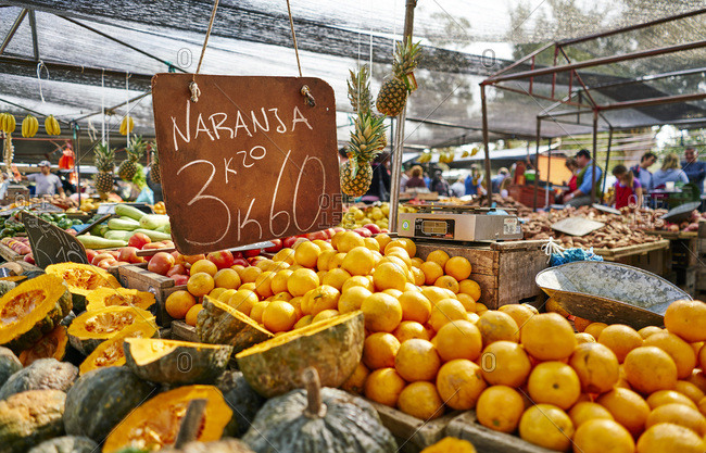 Uruguay - September 2, 2017: Montevideo- fruit on a market