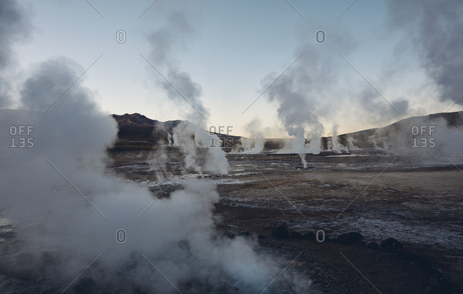 Chile- El Tatio- San Pedro de Atacama- geyser field at dawn