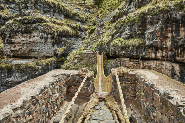 Peru- Quehue- Inca rope bridge