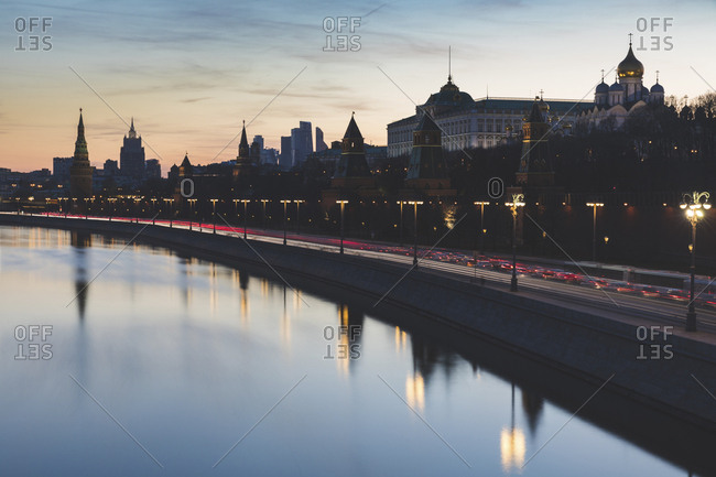 Russia- Moscow- The Kremlin embankment with heavy traffic