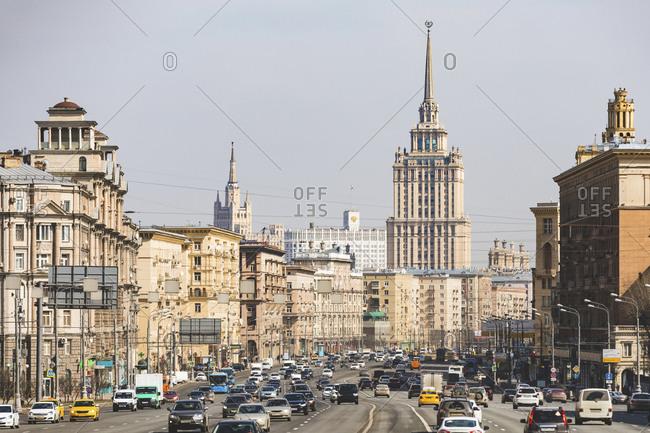 Russia- Moscow- View of Kutuzovsky avenue with Hotel Ukraina