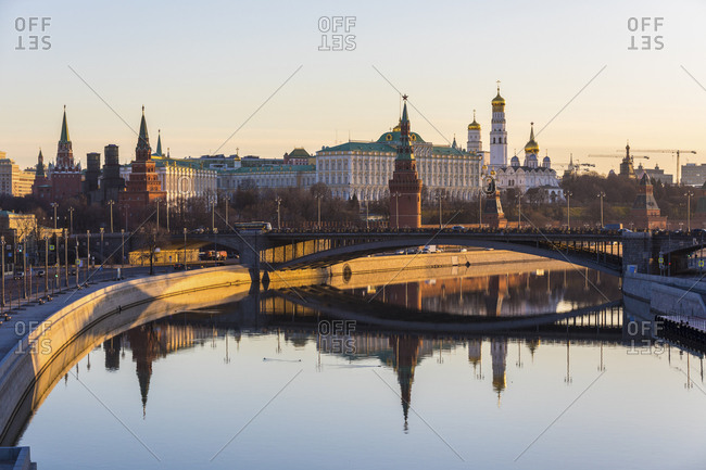 Russia- Moscow- Panoramic view of Moskva river and Kremlin at sunrise