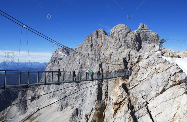 Austria- Styria- Salzkammergut- Dachstein massif- suspension bridge