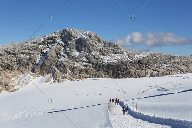 Austria- Styria- Salzkammergut- Dachstein massif- View to Gjaidstein- hiking trail on Hallstaetter Glacier