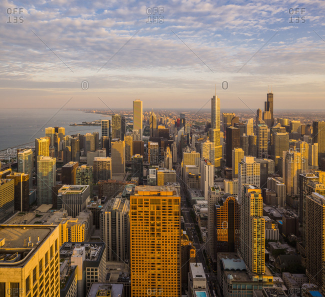 USA, Illinois, Chicago  - January 21, 2019: Downtown, Gold Coast, view of the town from the Observatory of John Hancock Center at sunset