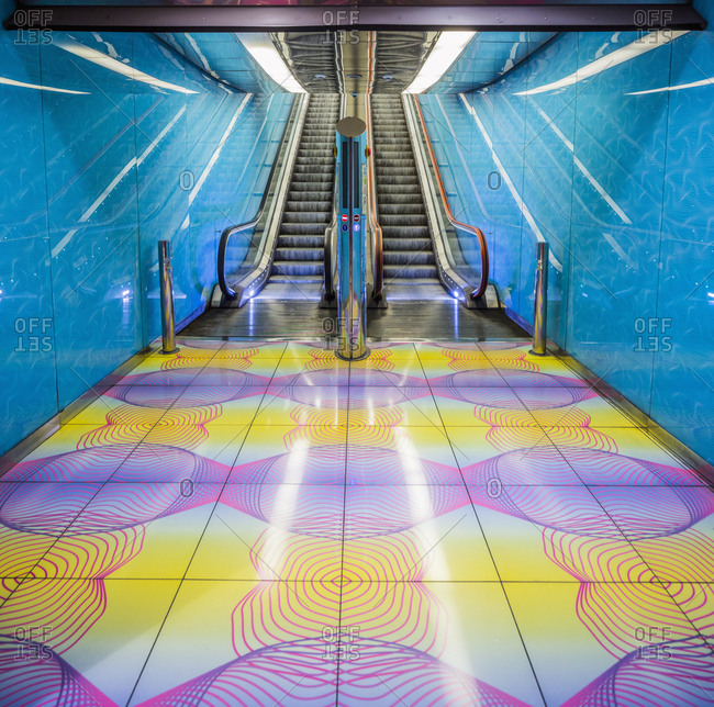 Italy, Campania, Naples - October 9, 2018: University Metro (Underground) Station, designed by the architect Karim Rashid and opened in 2011. The station is inspired by digital era