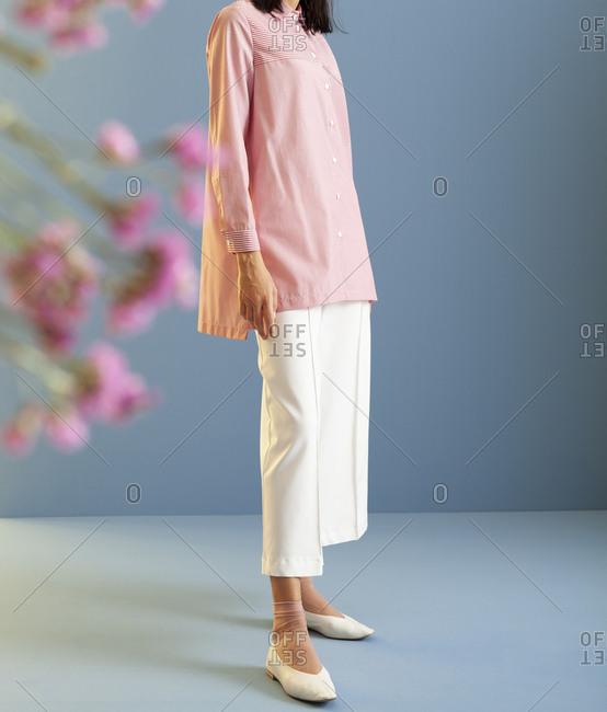 Studio shot of model wearing culottes