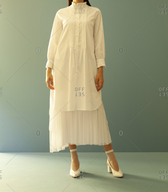 Model with a white dress