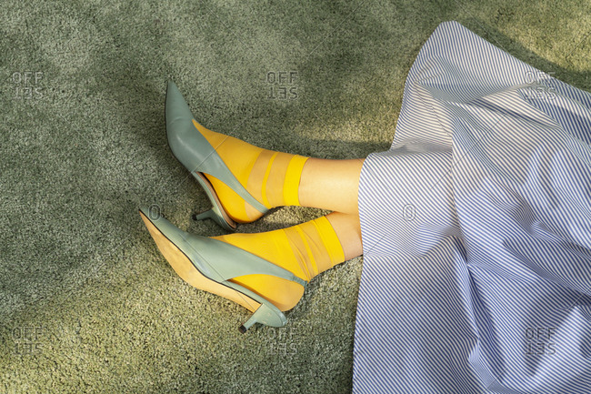 Woman with yellow socks
