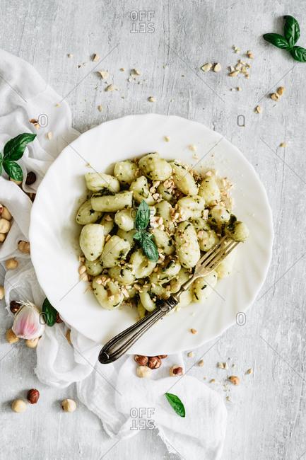 Healthy easy pesto gnocchi with hazelnuts