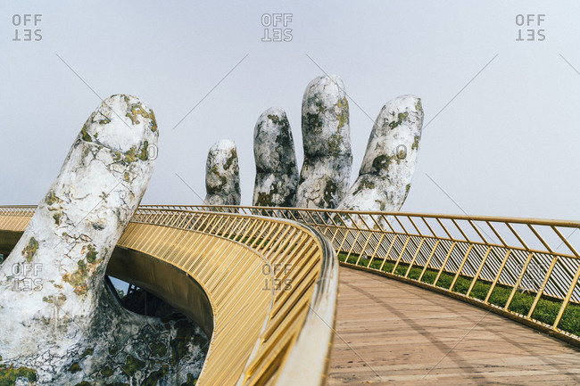 Danang, Vietnam - October 30, 2018: Golden Bridge in Ba Na Hills, central Vietnam
