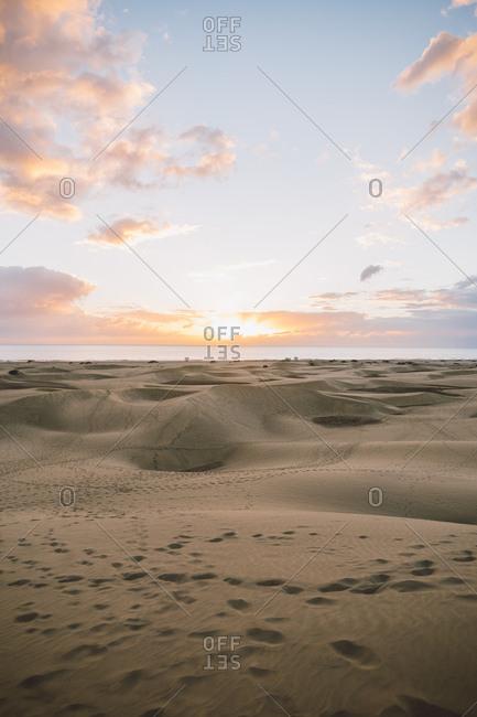 Beach with dunes sunrise, Maspalomas, Gran Canaria