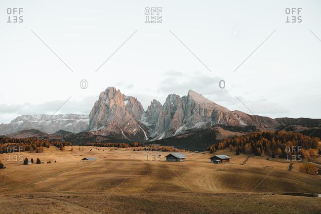 Majestic landscape of Alps, in Alpe di Siusi, Italy
