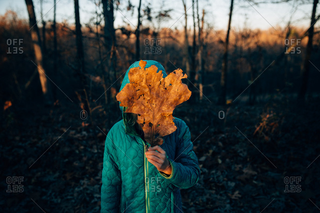 A girl stands with a leaf over her face in the evening sun