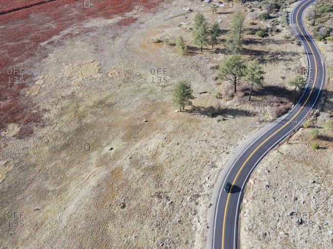 California State Route 79 near Julian, California seen from the sky.
