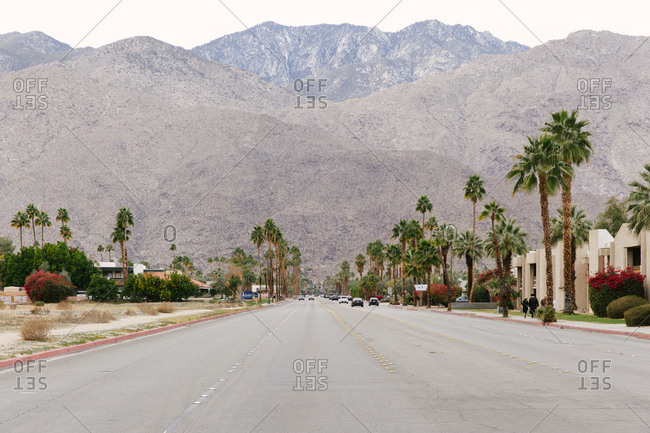 Palm Springs, California - January 5, 2019: Street with palm trees and mountains of the Tahquitz Canyon in the background.