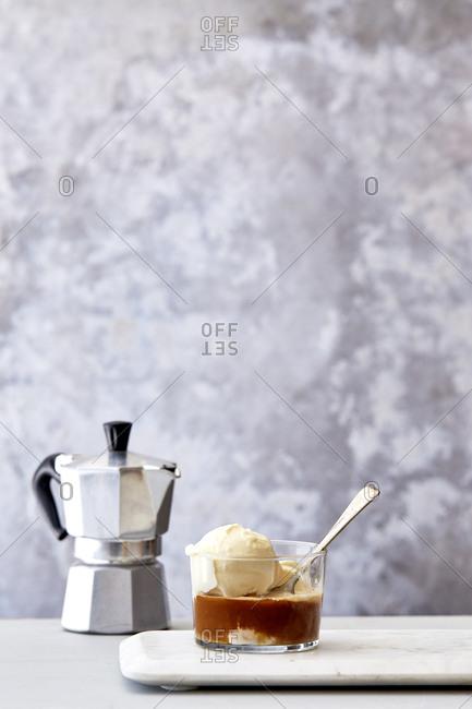 Affogato with moka pot and spoon