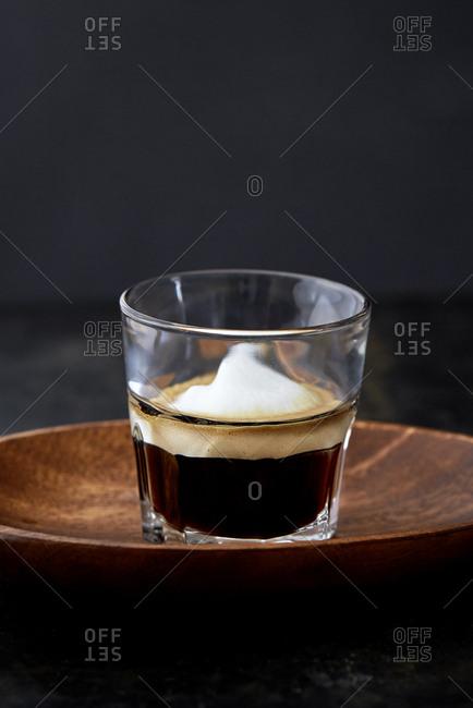 Espresso in a glass with rich creme
