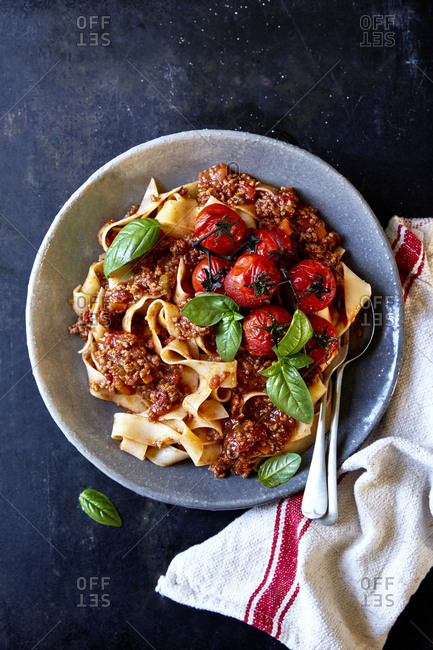 Pappardelle and ragu with roast vine tomatoes