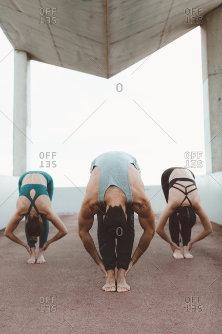 Yoga students following instructor pose