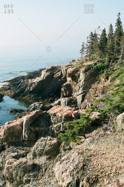 View of rocky coastline in Maine USA