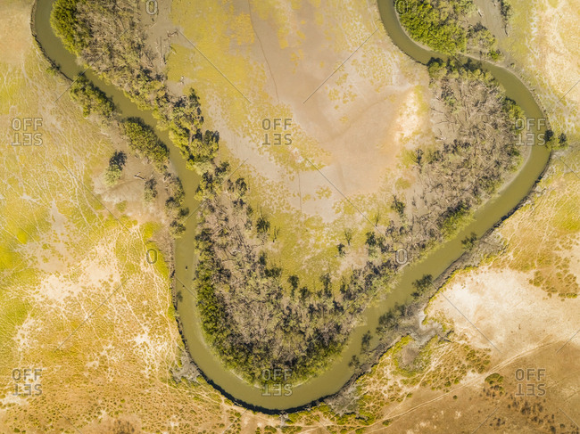 Aerial view above of a serpentine stream with riparian forest, Brazil.