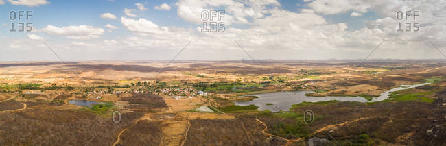 Panoramic aerial view of rock mountain formation on arid area, Ceara, Brazil.
