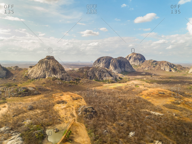Aerial view of rock mountain formation on arid area, Ceara, Brazil.