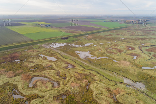 Aerial view of agricultural land protected by elevation barrier, Netherlands.