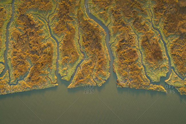 Aerial view above of wide wetland ecosystem near the ocean, Netherlands.