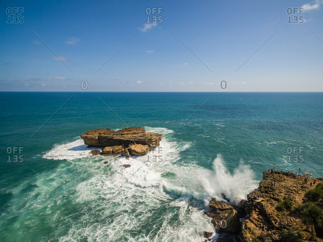 Aerial view of isolated rock formation on Java sea, Indonesia