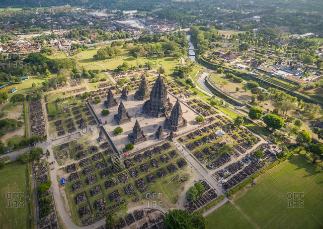 Aerial view of people visiting a preserved archaeological ruin, Yogyakarta, Indonesia.