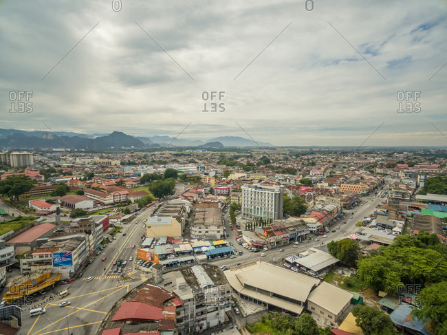 Perak, Malaysia - September 20, 2016: Aerial view of Ipho cityscape during the daylight.