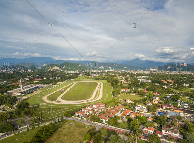 Aerial view of horse race track at Ipho city, Perak, Malaysia.