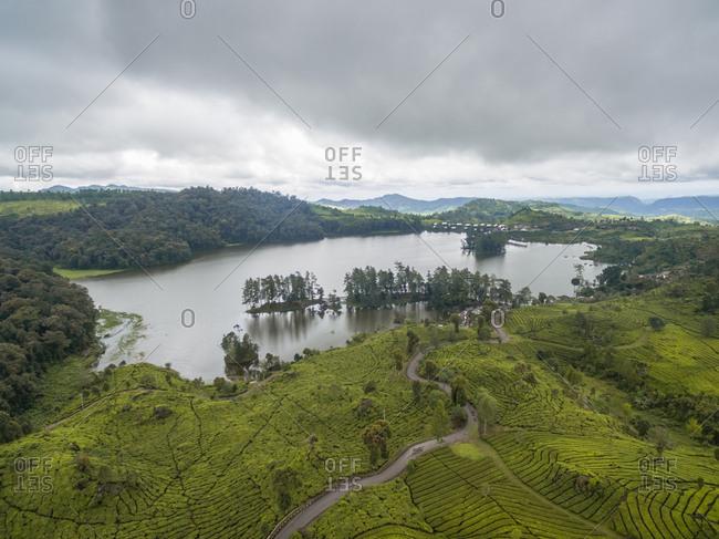 Aerial panoramic view of Patenggang Lake, West Java  Indonesia.