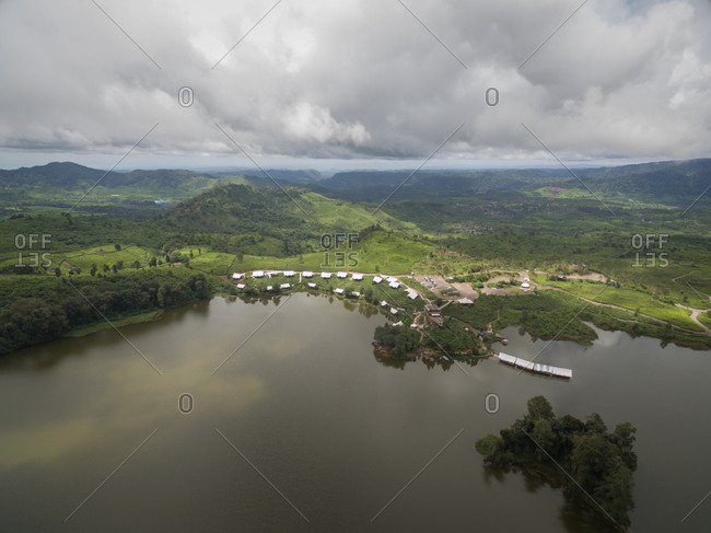 Aerial panoramic view of Patenggang Lake with white huts, West Java  Indonesia.