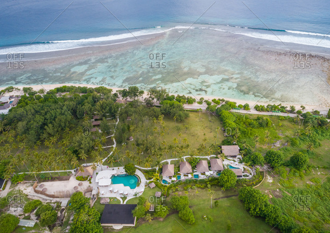 Aerial view of small bungalow resort near the beach, Indonesia.
