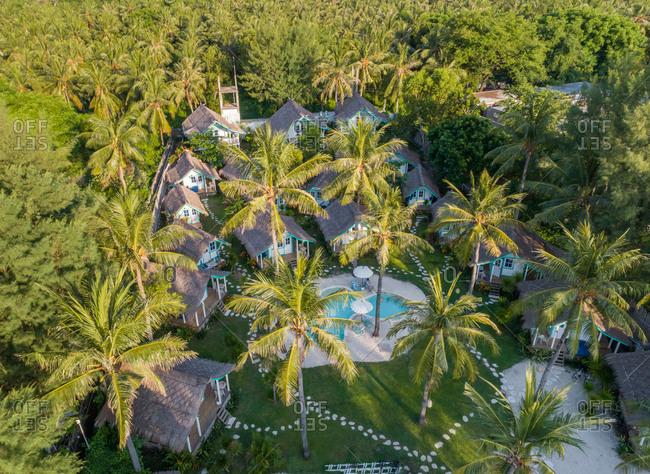 Aerial view of bungalow on luxury resort, Gili Trawangan island, Indonesia.