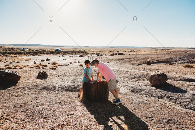 Two boys exploring in the desert