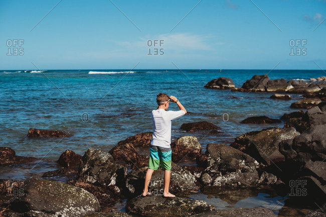 Rear view of boy standing on rocky coast