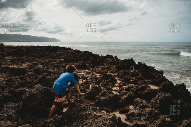 Rear view of boy climbing on rocky coast