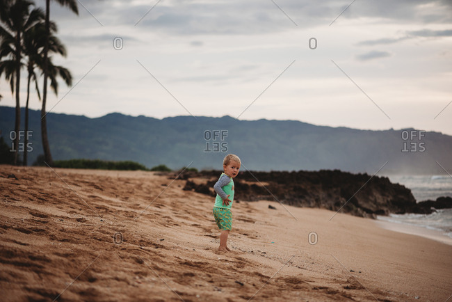 Toddler boy walking on sandy beach