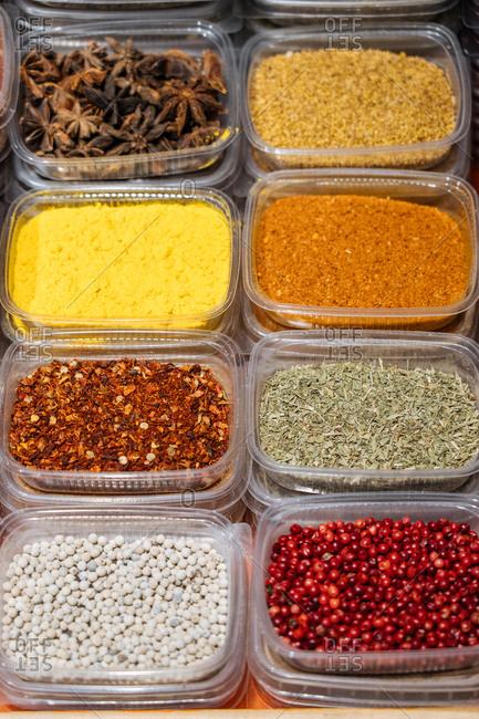 Variety of dried seasonings and herbs